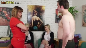 Cocktugging CFNM babes instructed by school principal