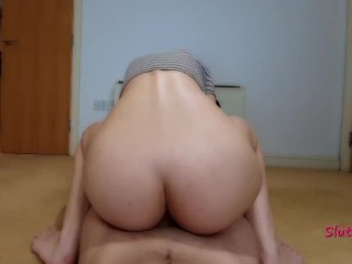 Teen rides a big cock. POV, Anal, cowgirl, atm