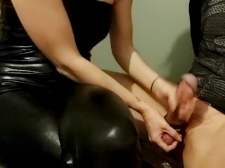 Latex Mistress squeezes the cum out of slaves balls with sexy femdom handjob milking!!
