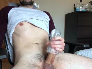 Laud Moaning Guy While Fleshlight masturbation-Intense Orgasm 1080p
