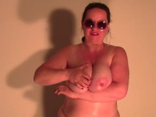 My big shiny natural Tits first time on Video ! English JOI (jerkoff instruction) to my oiled boobs