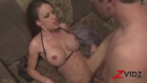 Brunette Riding Dick In Wild Foursome