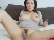 Brunette hair stepmom with amazing tits and nice ass gets her stepmom pussy fucked by stepson