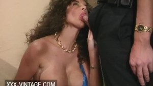 FMM retro threesome with big tits and hairy pussy