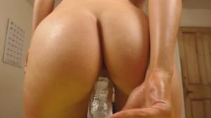 Athletic blonde rides her dildo to epic orgasm