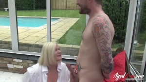 AGEDLOVE British blonde mature suck dick of her model