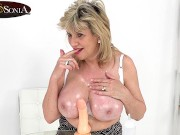 Blonde mature stepmother Lady Sonia shows you her huge tits