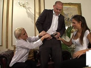 Kinky british dominas tugging micro dick