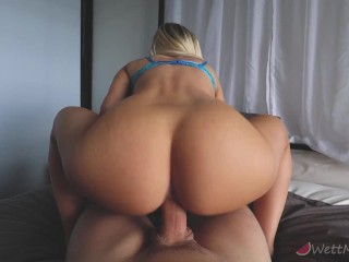 Big Natural Tits Blonde Squat Fucks And Has A Bouncy Ride Followed By Cumshot On Tits