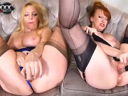 Two big titty mature British ladies have a naughty afternoon together