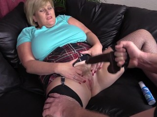 Mature Step Mom in fishnets has her pussy poked with Dildo by filthy neighbour