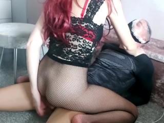 Slaves pain is Mistress's pleasure! Dominant femdom babe torments slaves cock before she fucks him!!