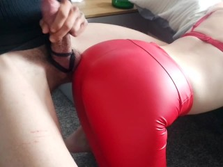 Lucky guy gets to cum over his Mistress's sexy shiny Ass in red spandex,after dominant cock tease!