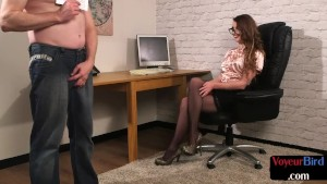 Voyeuristic CFNM babe watches office jerkoff